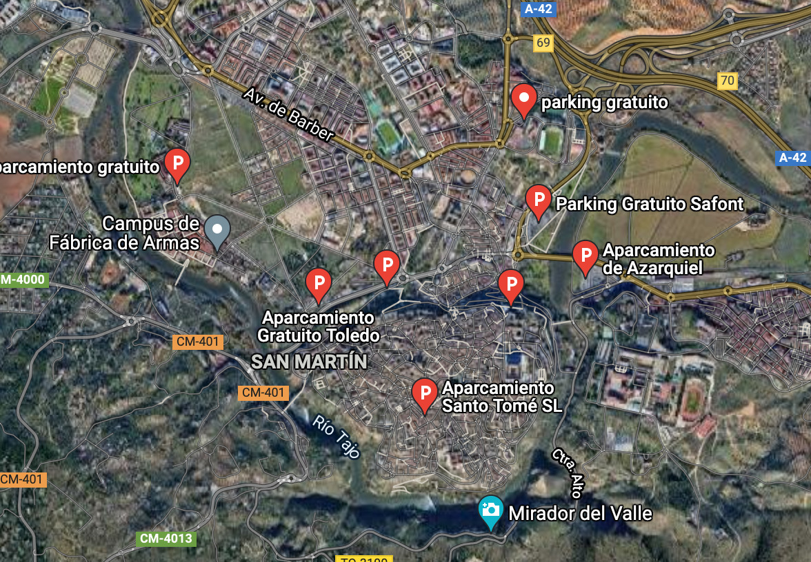 mapa satélite parking gratuitos en Toledo
