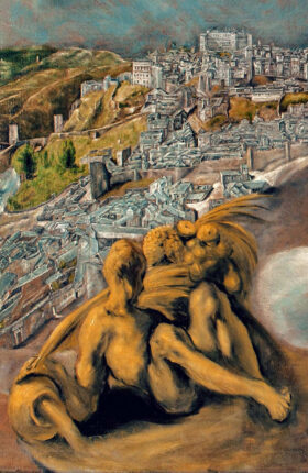 Detalle del cuadro vista y plano de Toledo del Greco